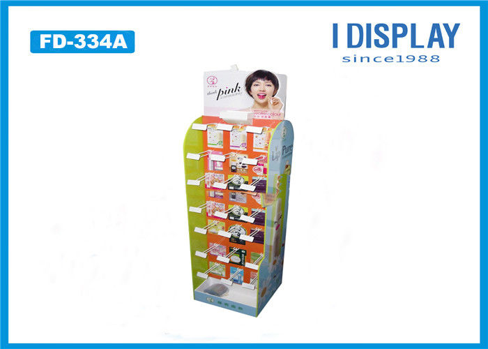 Floor Stand Hook Cardboard POP Displays Light Duty For Lipstick Retail